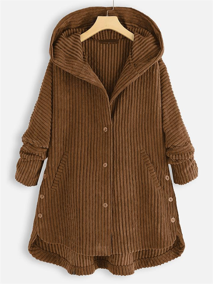Winter Solid Color Buttons  Corduroy Cotton Coat