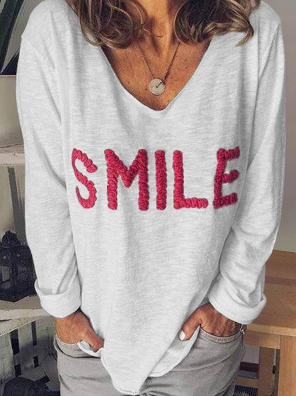 Casual Embroidery Loose Long Sleeve T-shirts For Women