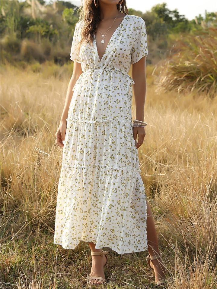 V Neck Short Sleeve Floral  Dress