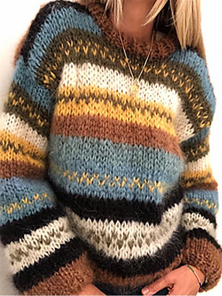 Extra Cozy Color Block Round Neck Cable Knit Pullover Sweater