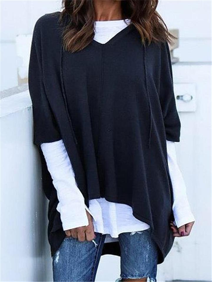 Stylish Fake Two Pieces Loose Long Sleeves Hoodies Blouses