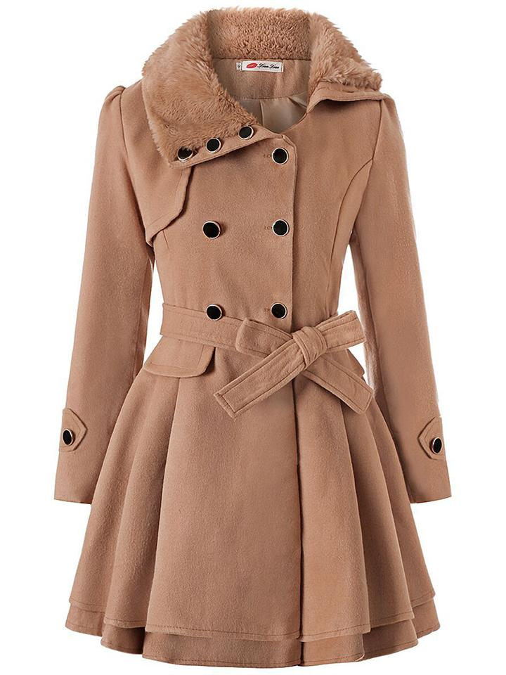 Women Fashion Slim Fit Waist Tie Fur Collar Coat Dress