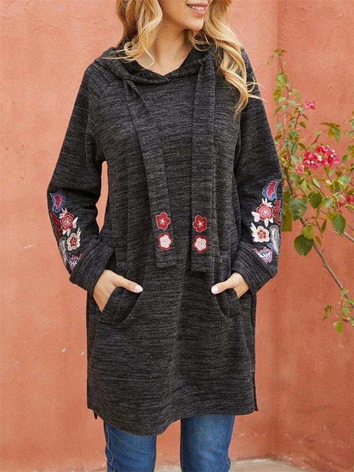 Loose Fit Heathered Floral Embroidered Midi Length Hoodies