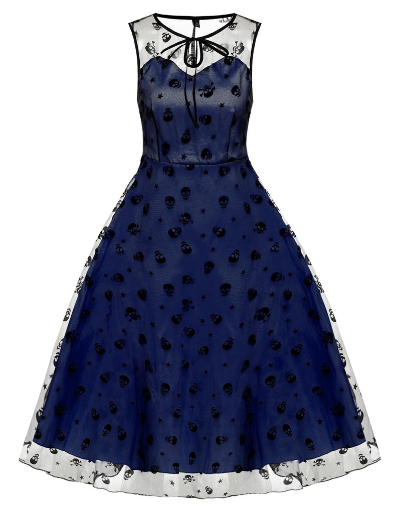 Blue 1950s Mesh Swing Dress
