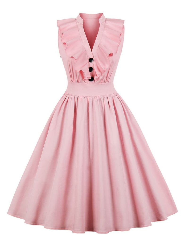 Pink 1950s Ruffle Trim Circle Dress