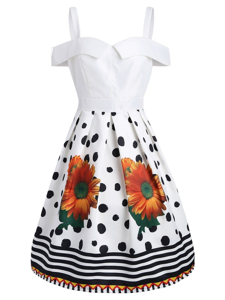 White 1950s Polka Dot Sweetheart Neck Dress
