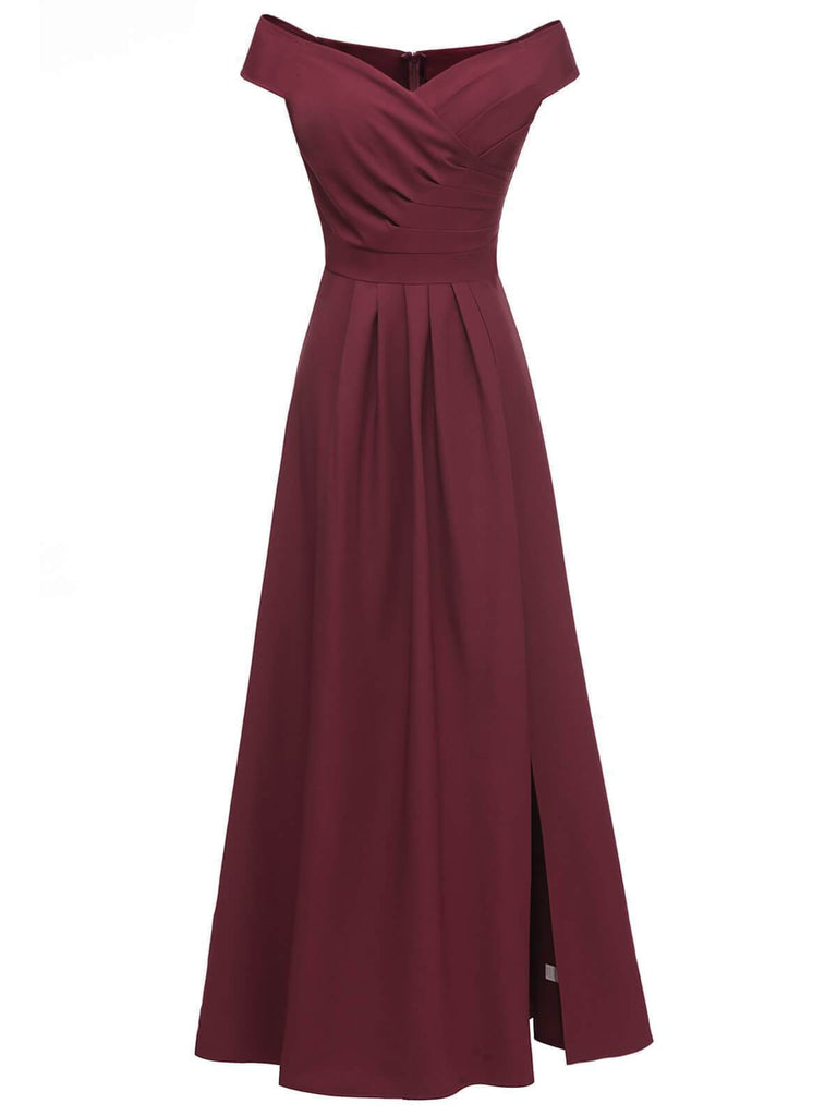 Vintage Solid Off Shoulder Maxi Dress