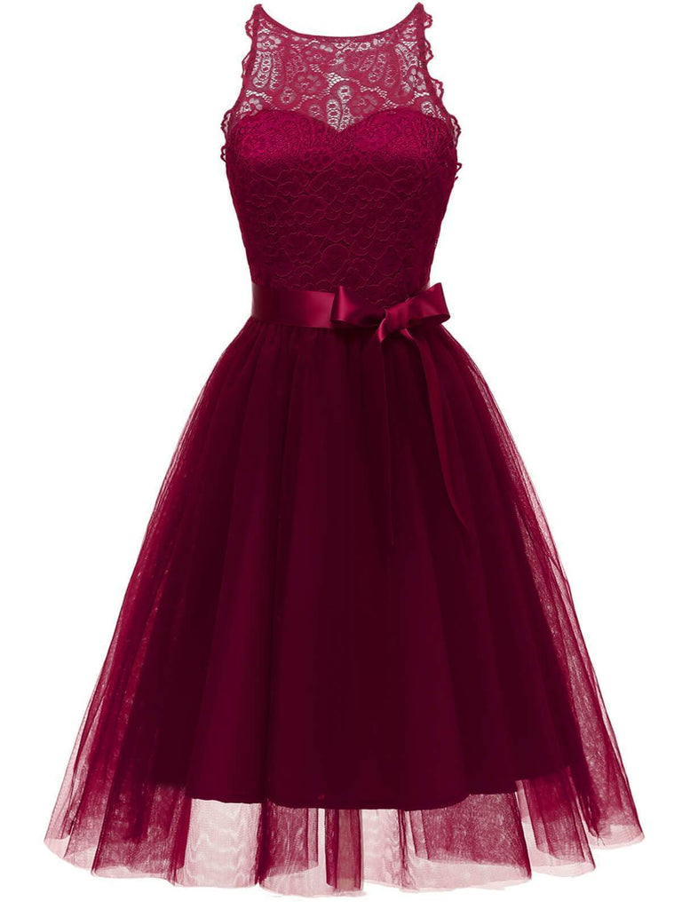 1950s Lace Belted Bow Swing Dress