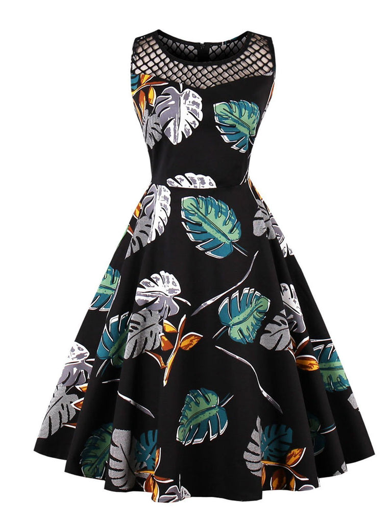 Black 1950s Leaves Print Sleeveless Dress
