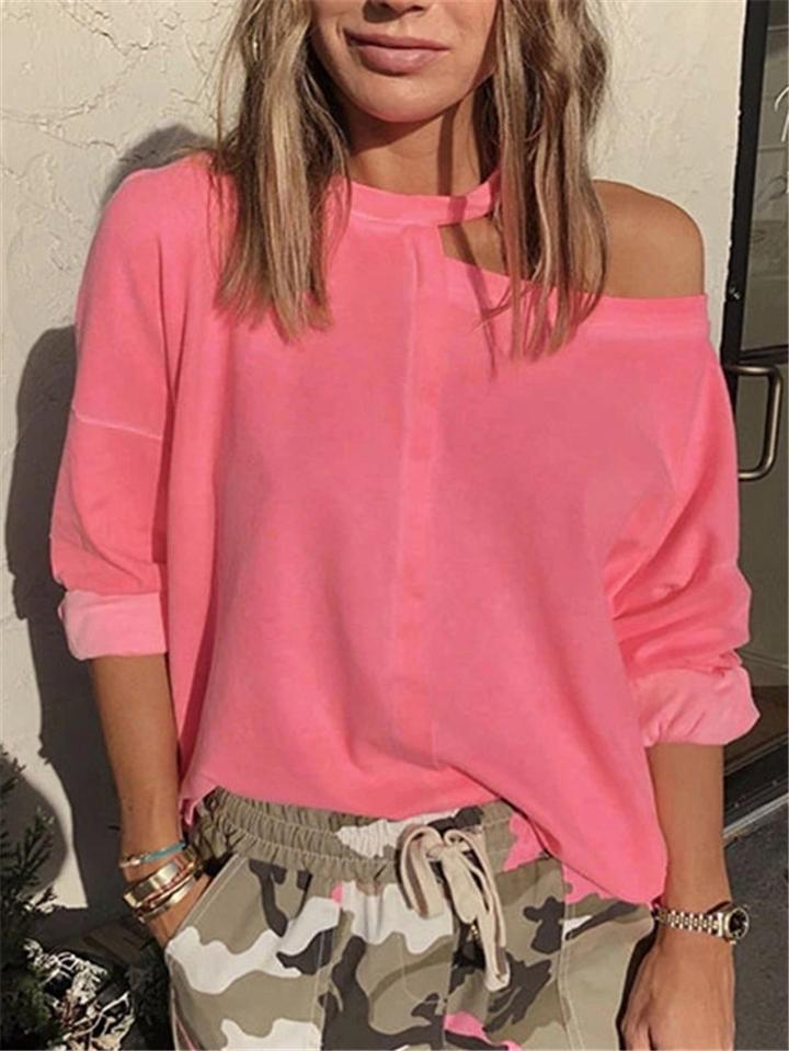 Stylish Asymmetric Design One Shoulder Cutout T-Shirt