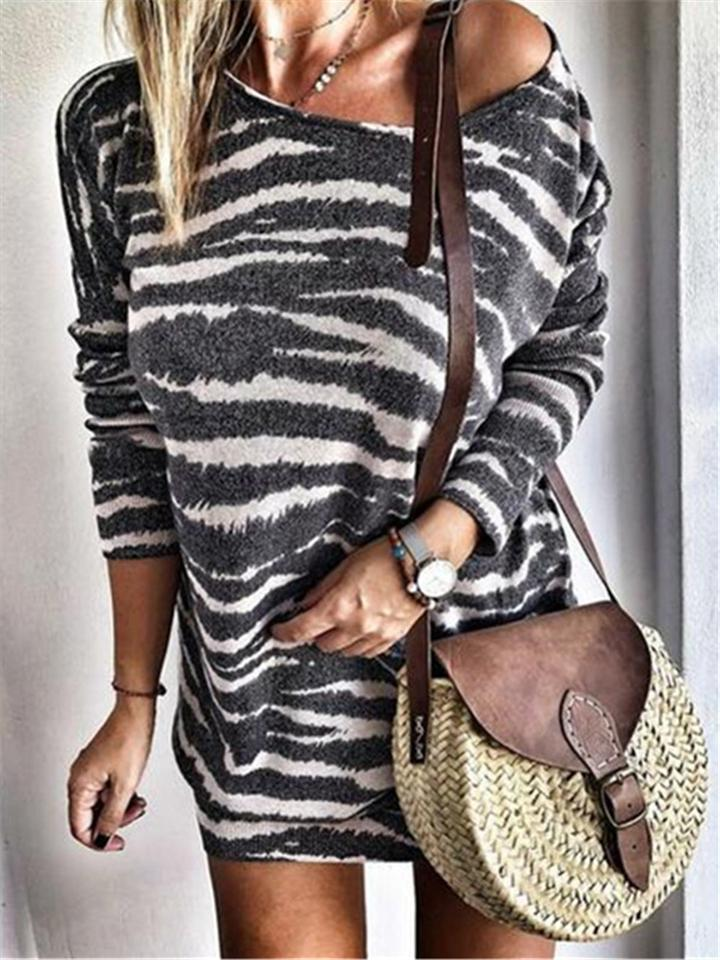 Casual Fit Striped Printed Round Neck Sweater Sheath Dress
