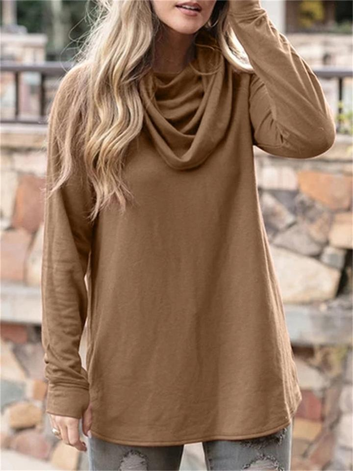 Casual Fit Cowl Neck Solid Color Long Sleeve Pullover Shirt