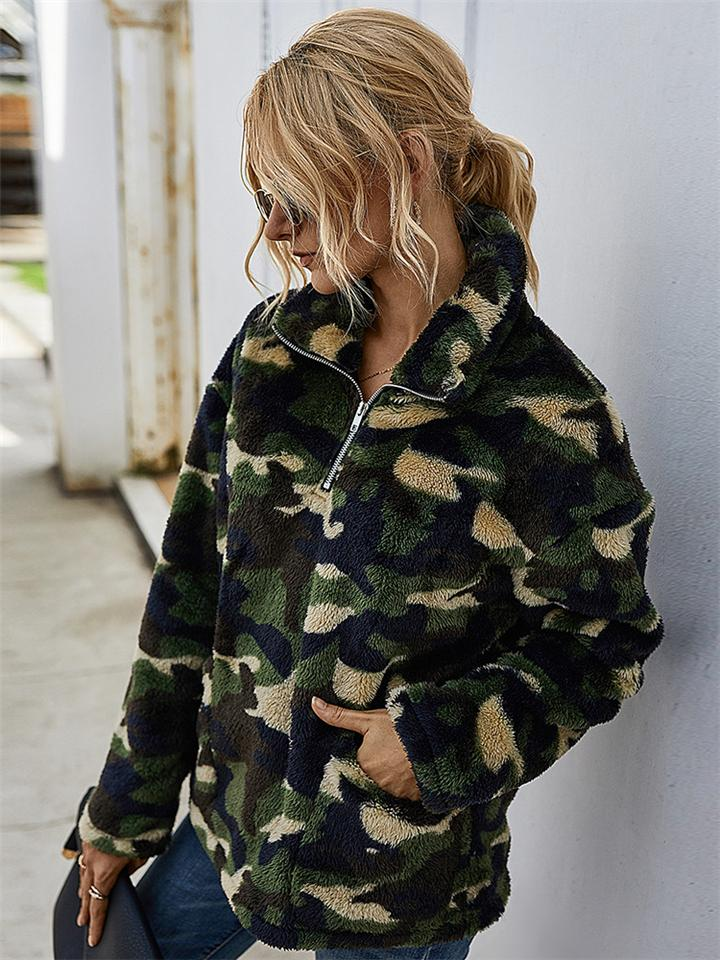 Warm Thicken Camouflage Plaid Coat For Women