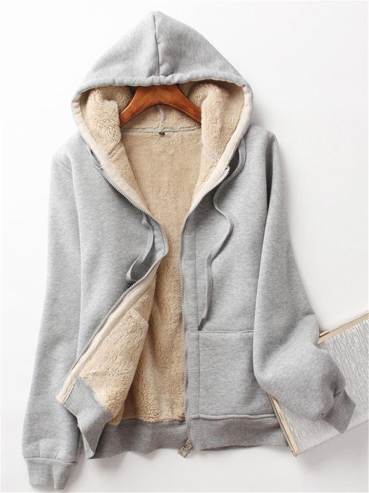Ultra Comfortable Warm Thicken Plush Hooded Outerwear For Women