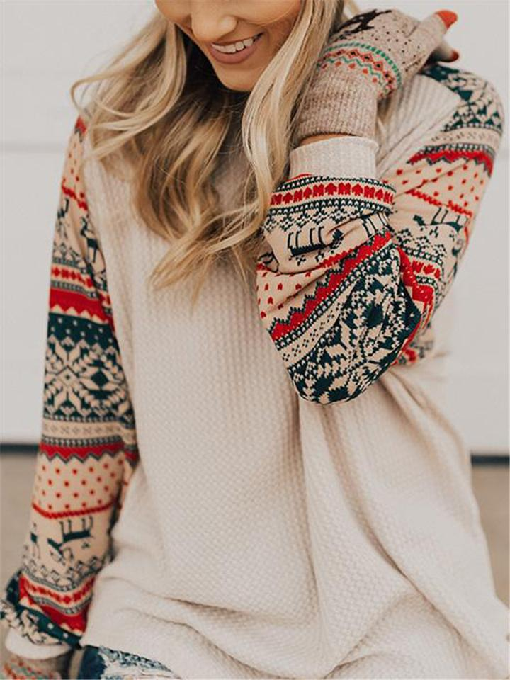 Women's Christmas Print Crew Neck Relaxed Fit Sweater