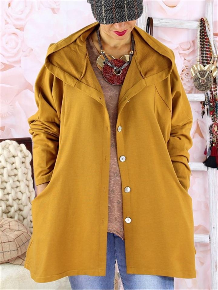 Loose Fit Front Button Up Side Pocket Hooded Trench Coat