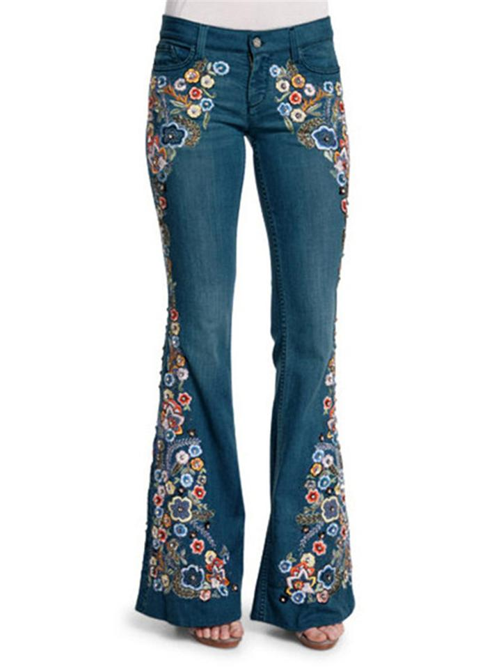 Retro Embroidery Floral Slim Fit Bell-Bottom Denim Pants