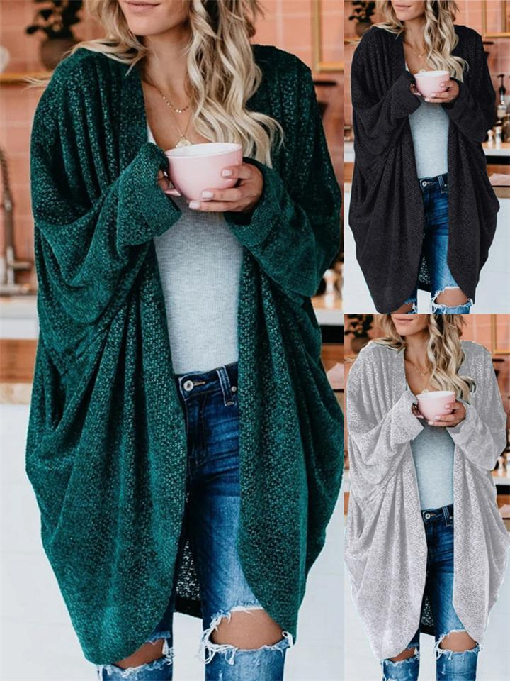 Loose Fit Open Front Solid Color Long Sleeve Cardigan