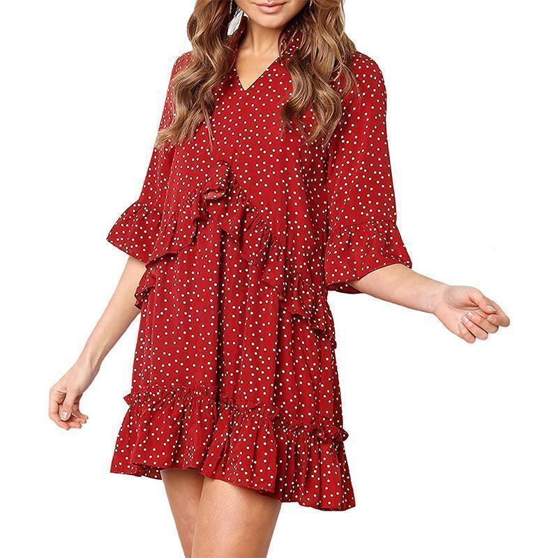 V-neck Printed Fashion Dot Loose Dress