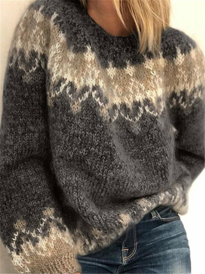 Women's Casual Loose Color Matching Vintage Pattern Sweaters