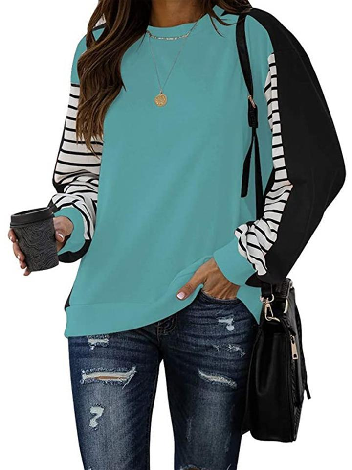 Casual Style Round Neck Striped Patchwork Long Sleeve Shirt
