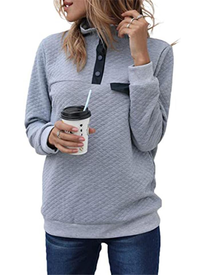 Fashion High-neck Buttons Long Sleeve Solid Color Tops