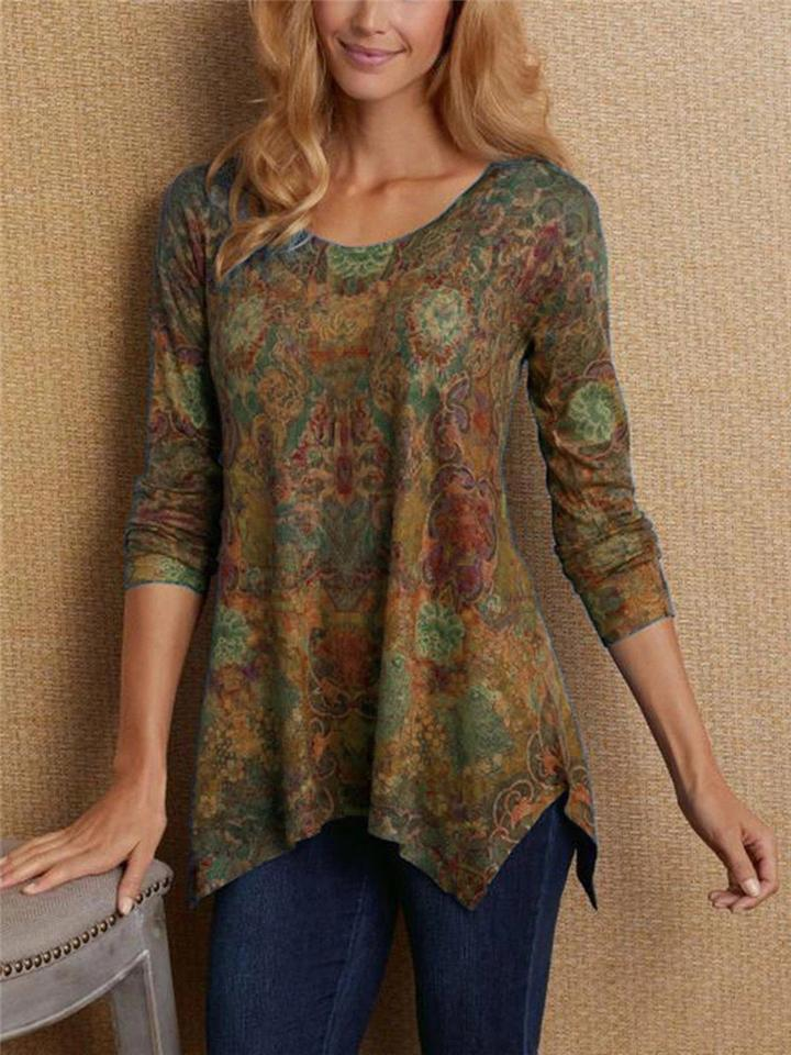 Floral Printing Asymmetrical Hem Long Sleeve T-Shirt