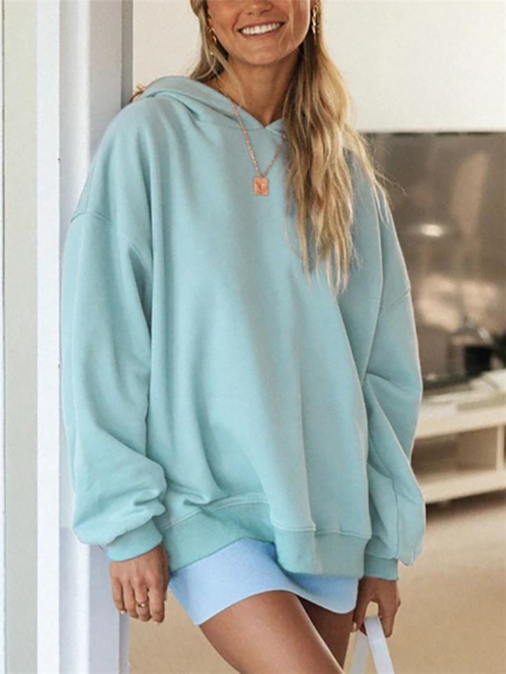 Oversized Solid Color Long Sleeve Hooded Sweatshirt
