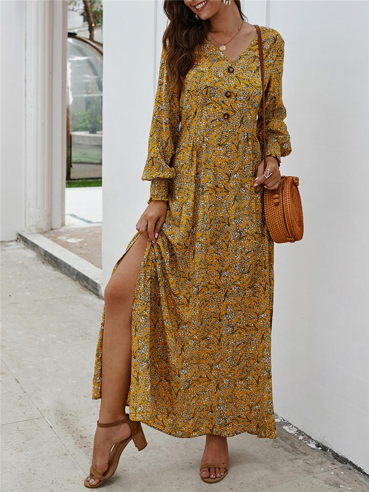 Women Trendy Elegant Floral V Neck Long Sleeve Maxi A-Line Dress