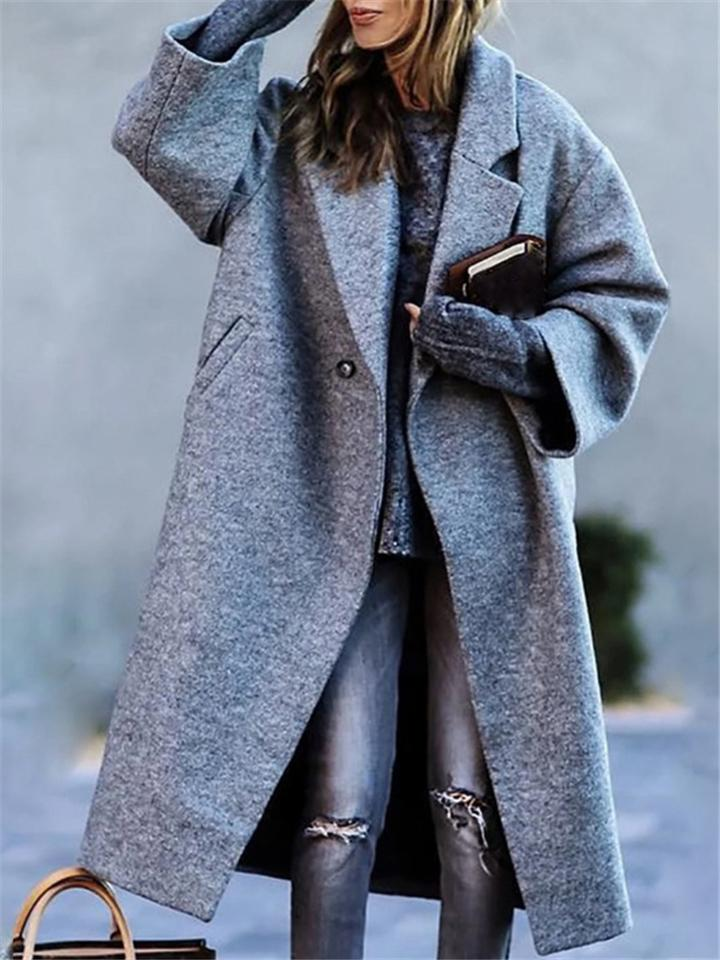 Fashion Street Style Gray Lapel Collar Casual Long Woollen Outerwear