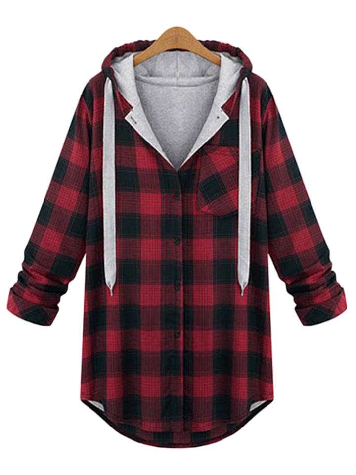 Classic Plaid Long Sleeve Hooded Button Jacket Coats