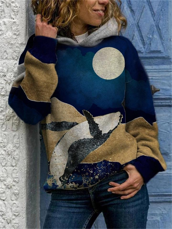 Stylish Long Sleeve Ocean Printed Hooded Sweatshirt