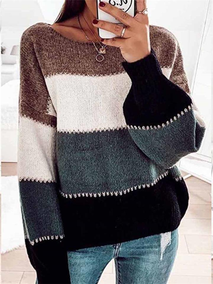 Fashion Striped Knitted Long Sleeve Sweater For Women