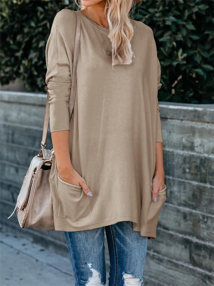 Soft Touch Round Neck Long Sleeve Midi Length Pocket Shirt