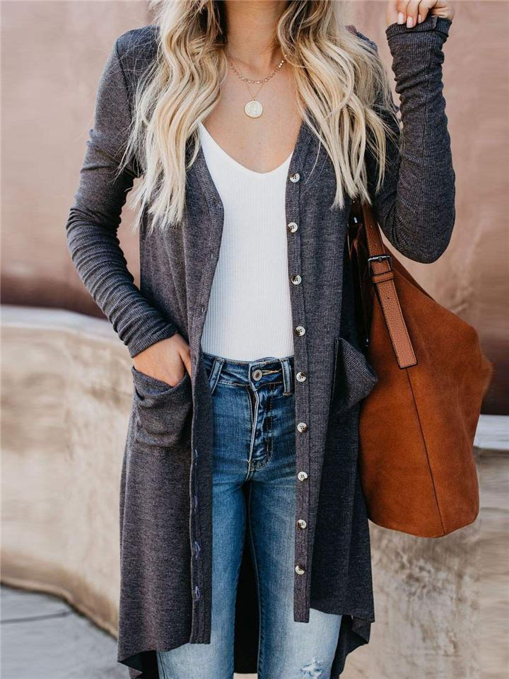 Winter Button Down Pocketed Long Cardigan For Women