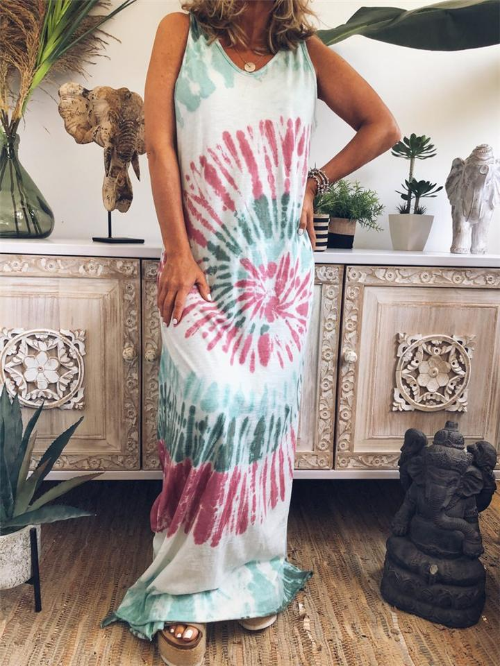 Plus Size Casual Tie-dye Printing Maxi Shift Dress