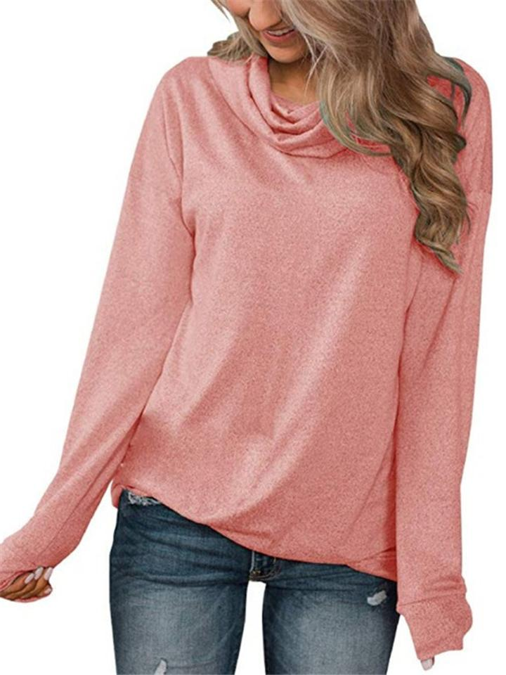 Relaxed Fit Solid Color Cowl Neck Long Sleeve Basic Shirt