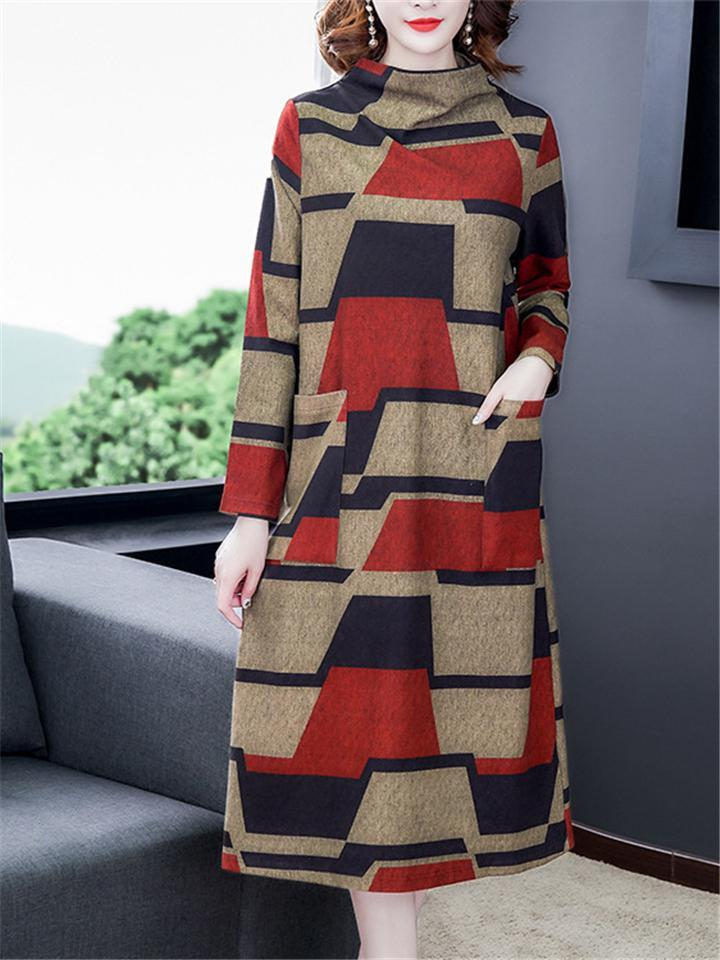 Stylish Color Block High Neck Long Sleeve Pocket Midi Dress