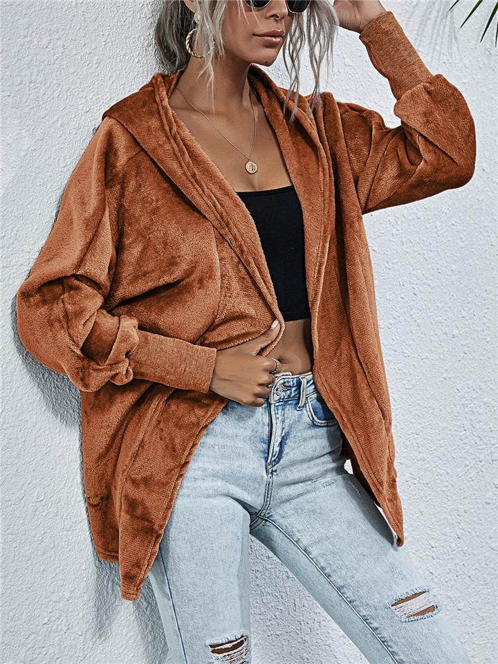 Cozy Warm Solid Color Open Front Long Sleeve Hooded Cardigan