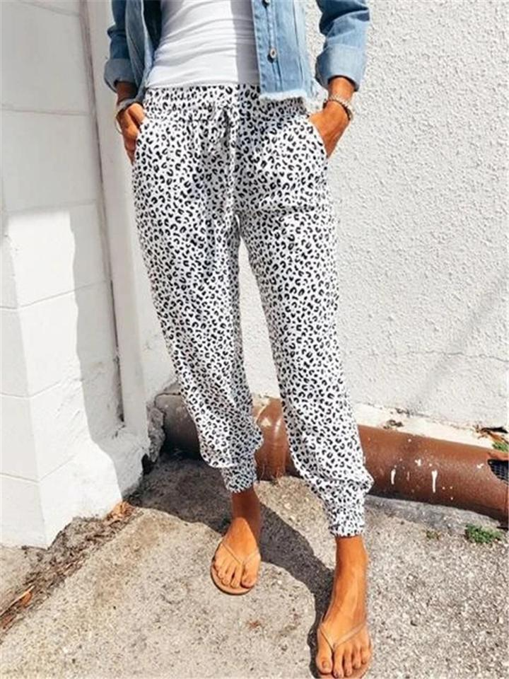 Women Fashion Casual Leopard Printed Trousers