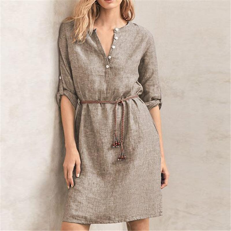 V-neck Casual Solid Color Dress