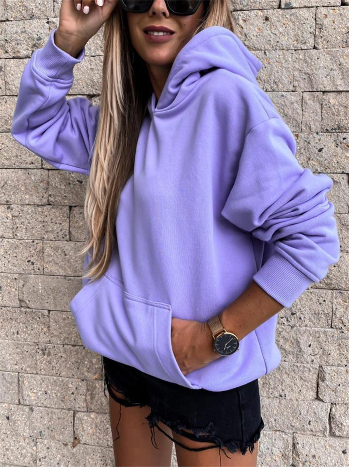 Casual Fit Solid Color Front Pocket Fleece Hooded Sweatshirt