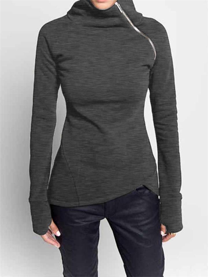 Easy Fit Side Zipper Asymmetric Hem Thumbhole Sleeve Tops