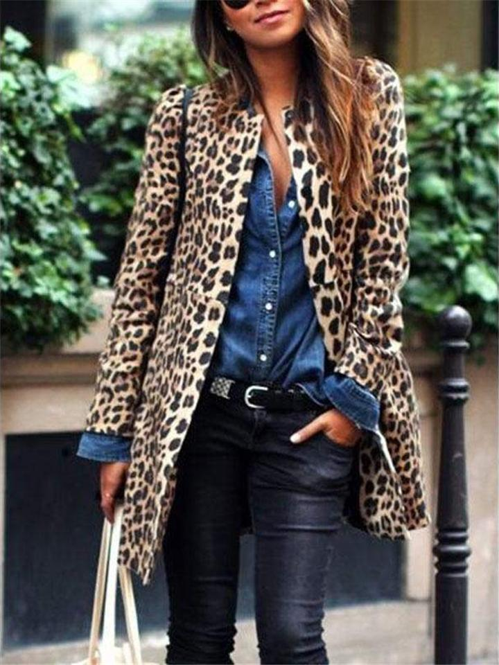 Relaxed Fit Leopard Printed Open Front Long Sleeve Coat