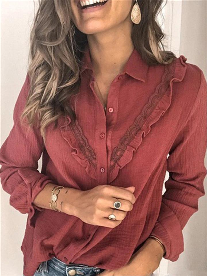Fashion Turn Collar Lacework Long Sleeve Shirts