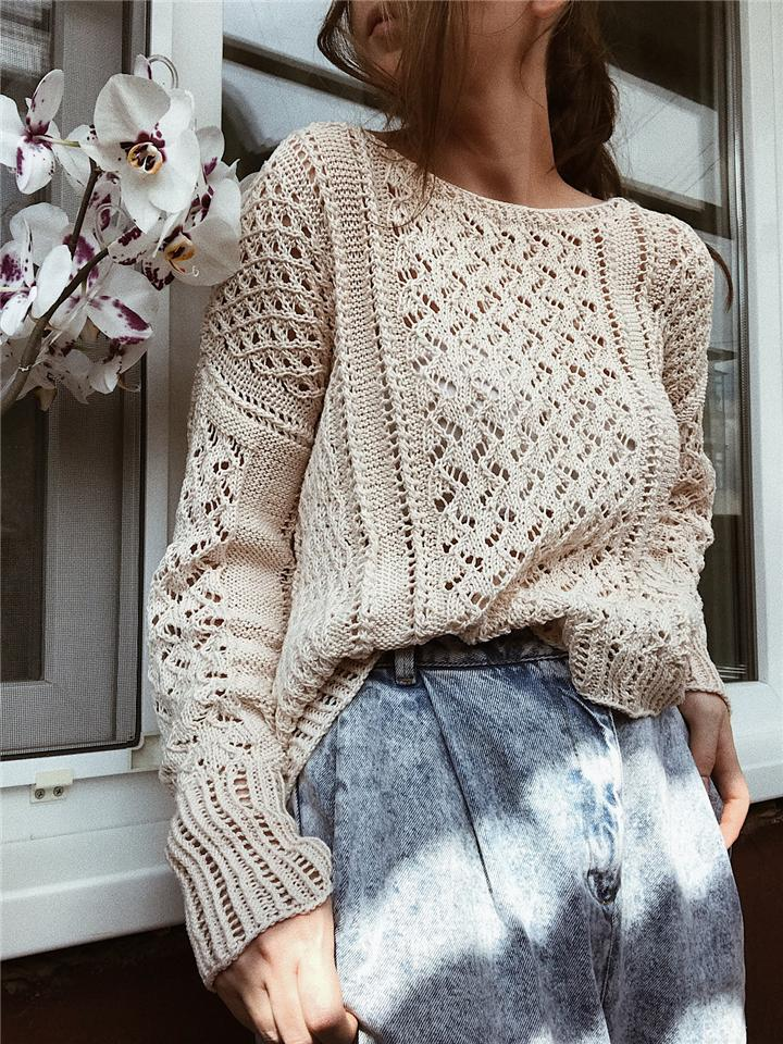 Casual Solid-color Round Neck Loose Hollow Out Knit Sweater