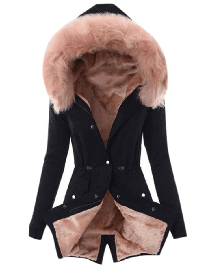 Ultra Cozy Fur Button Up Waist Drawstring Pocket Cotton Coat