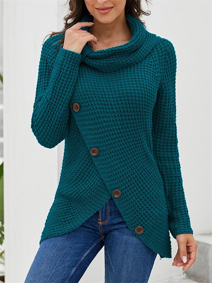 Buttoned Asymmetry Knitted Long Sleeve Turtleneck Sweater For Women