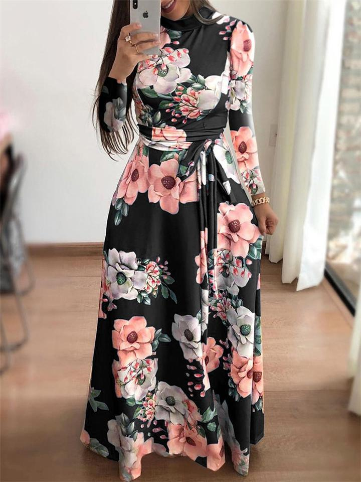 Trendy High Neck Floral Printed Waist Tie Long Sleeve Dress