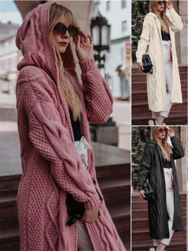 Stylish Cable Knitted Cardigan Sweater with Hood